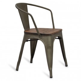 Chaise Bistro Arms Wood Antique