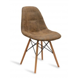 Chaise James Wood Brown Cover Marron
