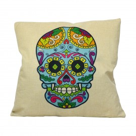 Coussin Mexican Skull Blue