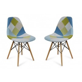 Lot 2 Chaises Patchwork Tortoise