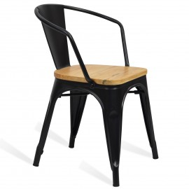 Silla de Metal Bistro Arms Wood