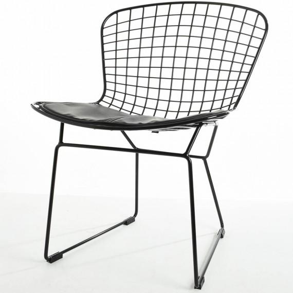 Réplique de la chaise Bertoia en acier noir par Harry Bertoia