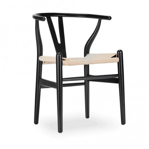 Réplique de la chaise Wishbone en bois coloré par Hans J.Wegner