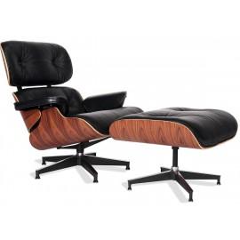 Fauteuil James Lounge Chair en Cuir Aniline et bois de Palissandre