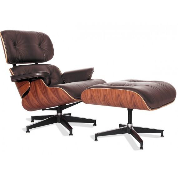Réplique du fauteuil Eames Lounge Chair version premium en cuir aniline et bois de palissandre par Charles & Ray Eames