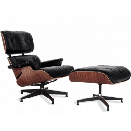 Replica Eames Lounge Chair version premium en cuir aniline et bois de noyer