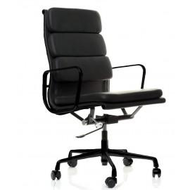 Chaise Bureau Soft Pad HighBack All Black en Cuir Fleur