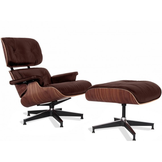 Replica Eames Lounge Chair version premium en cuir aniline et bois de noyer