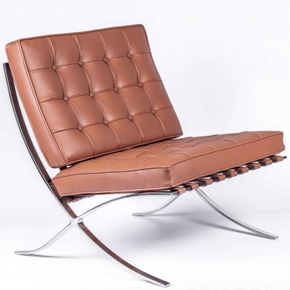Réplique chaise Barcelona en cuir cognac.