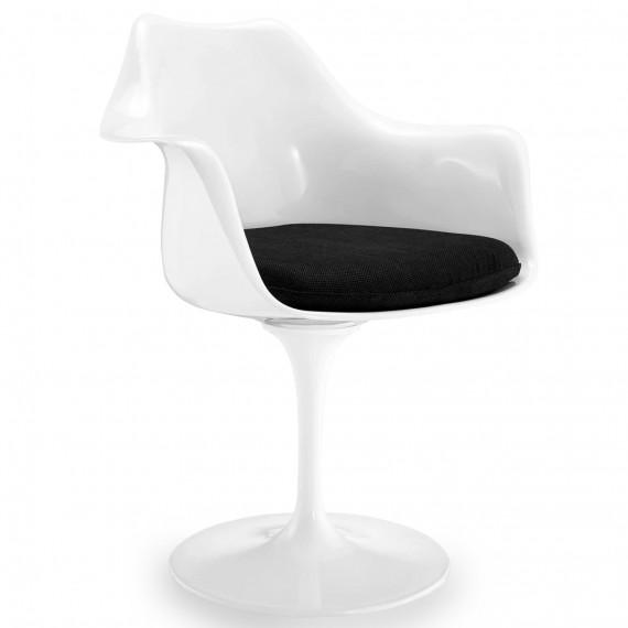 Réplique de la chaise Tulip avec accoudoirs et coussin
