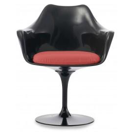 Chaise Tulip Arms All Black avec coussin en coton