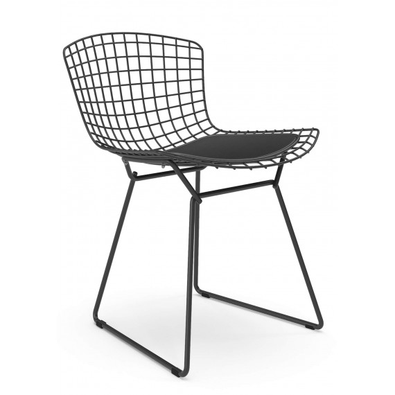 Replica Sedia Bertoia in metallo in acciaio nero in stile industriale del famoso designer Hans J. Wegner