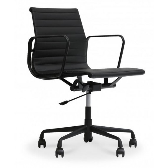 Chaise de bureau Replica Alu All Black en cuir fleur