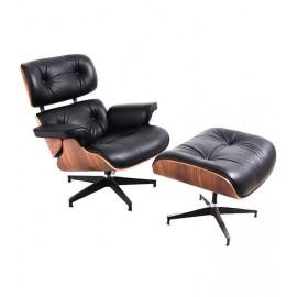 Réplique de la chaise longue James en similicuir et bois de noyer