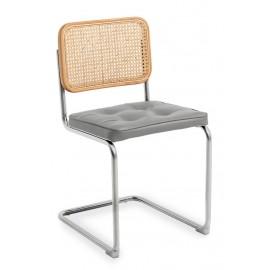 Chaise artisanale Cesca en rotin naturel et coussin en coton