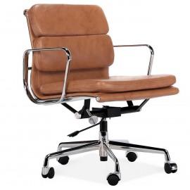 Réplique de la chaise de bureau EA217 soft pad en cuir vintage vieilli