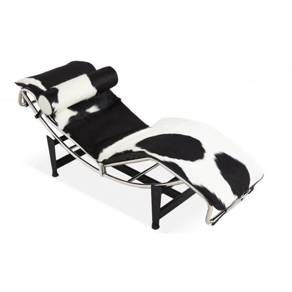 Réplique de la chaise longue LC4 en cuir de poney