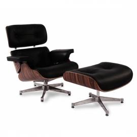 Réplique Eames lounge chair en simili cuir et base chromée par Charles & Ray